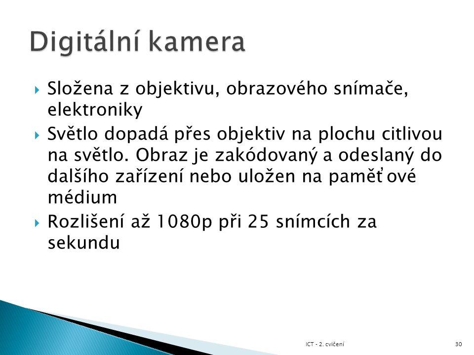 Digitální kamera Složena z objektivu, obrazového snímače, elektroniky