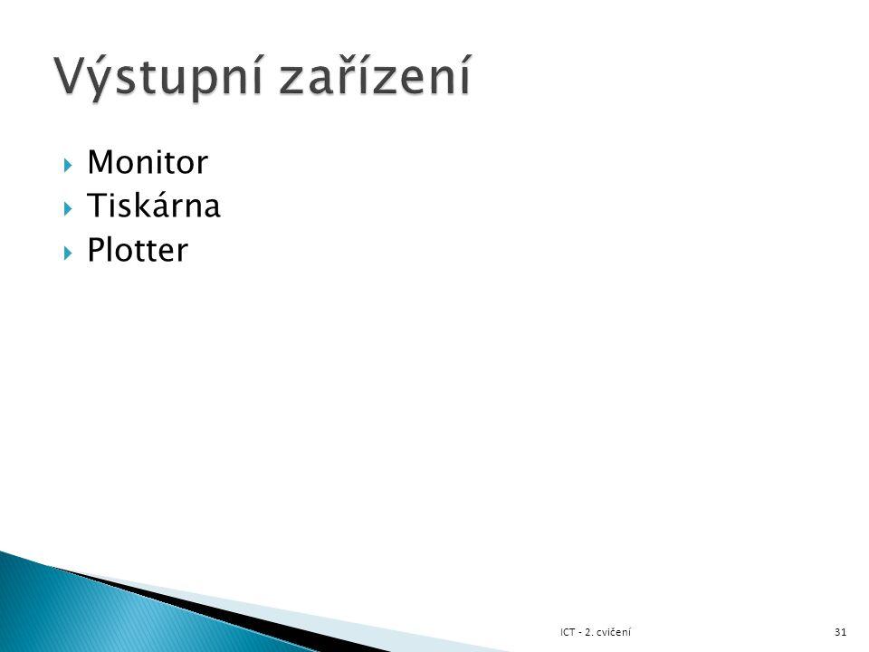 Výstupní zařízení Monitor Tiskárna Plotter ICT - 2. cvičení