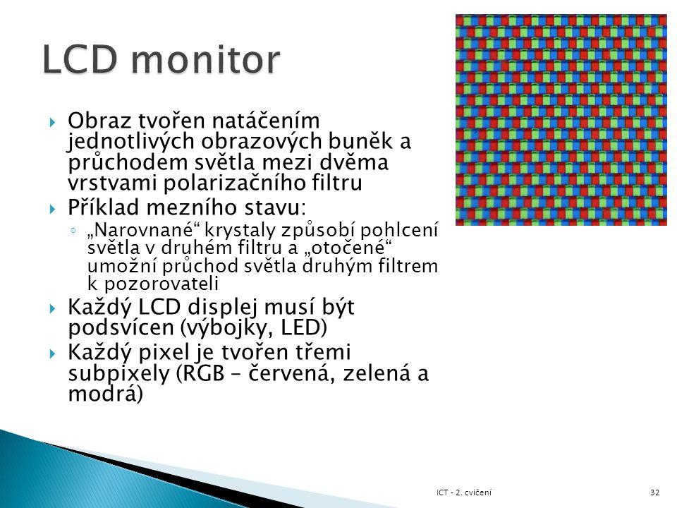 LCD monitor Obraz tvořen natáčením jednotlivých obrazových buněk a průchodem světla mezi dvěma vrstvami polarizačního filtru.
