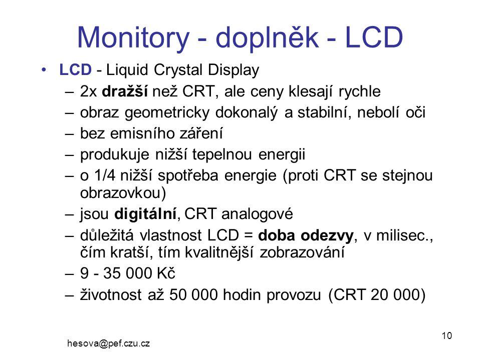 Monitory - doplněk - LCD