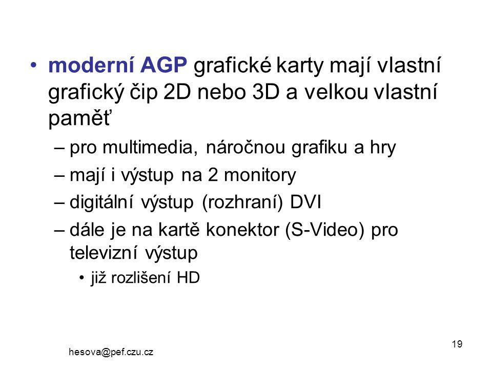 moderní AGP grafické karty mají vlastní grafický čip 2D nebo 3D a velkou vlastní paměť