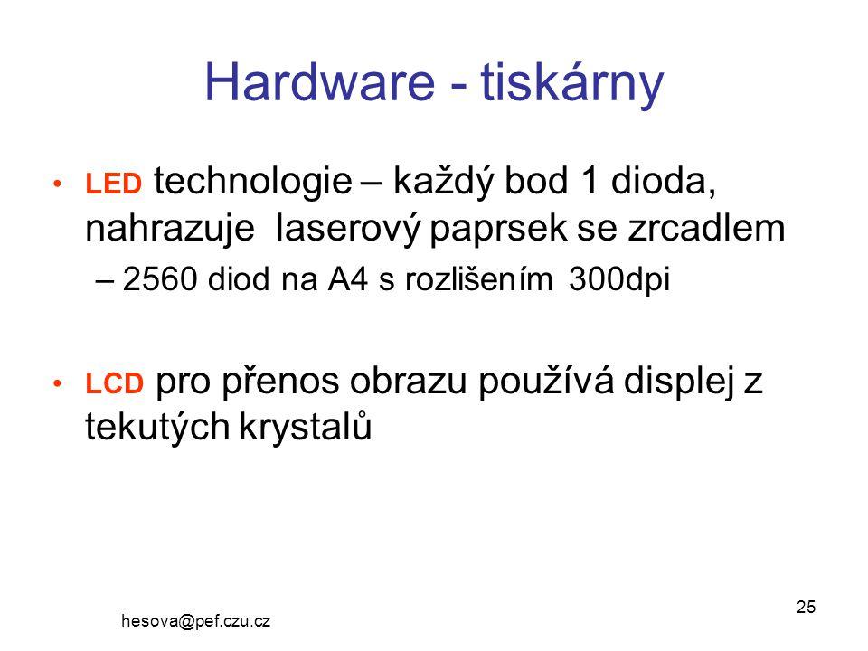 Hardware - tiskárny 2560 diod na A4 s rozlišením 300dpi
