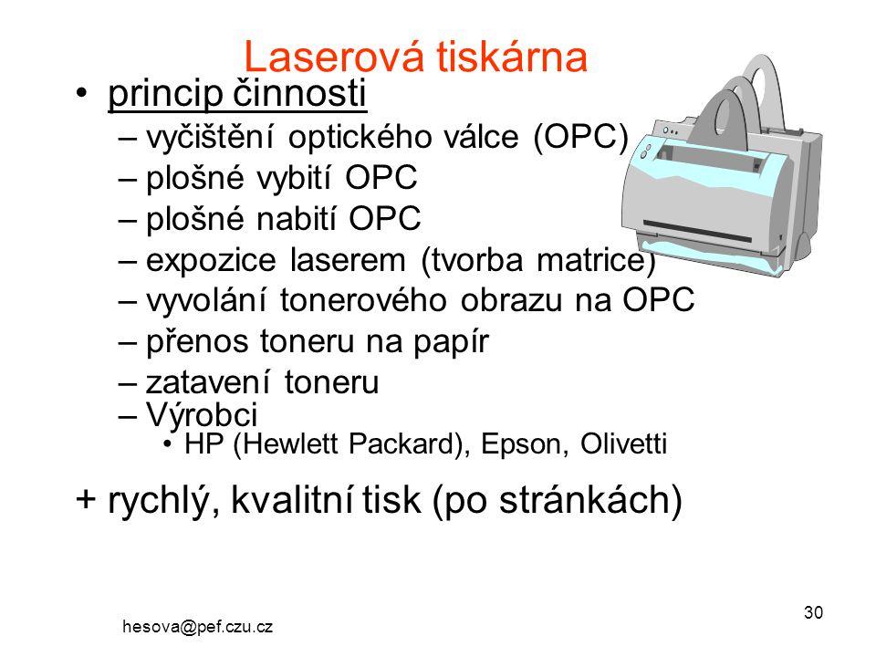Laserová tiskárna princip činnosti
