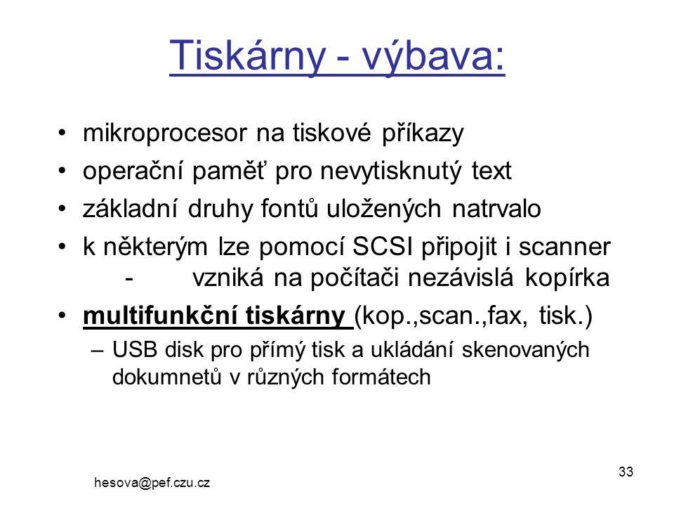 Tiskárny - výbava: mikroprocesor na tiskové příkazy
