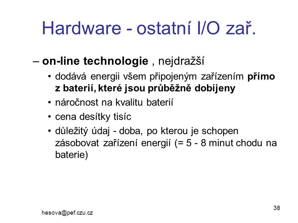 Hardware - ostatní I/O zař.