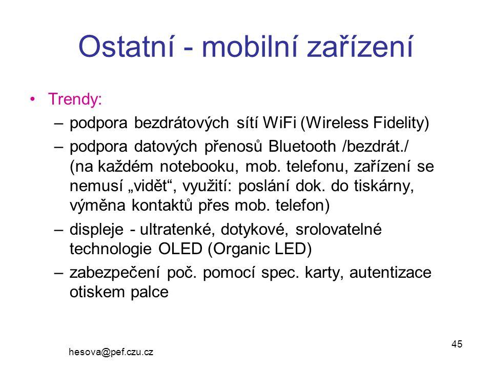 Ostatní - mobilní zařízení