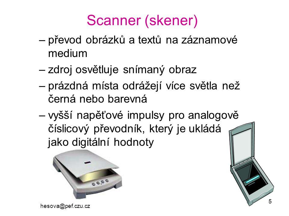 Scanner (skener) převod obrázků a textů na záznamové medium