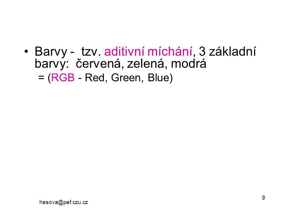 Barvy - tzv. aditivní míchání, 3 základní barvy: červená, zelená, modrá