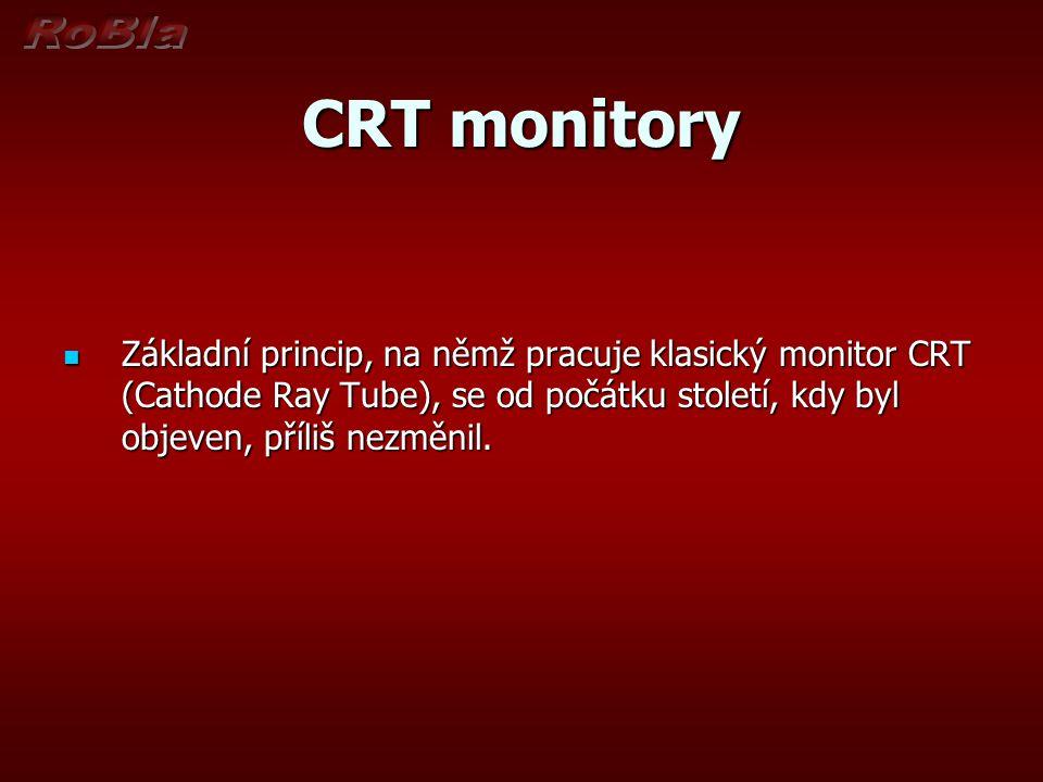 CRT monitory Základní princip, na němž pracuje klasický monitor CRT (Cathode Ray Tube), se od počátku století, kdy byl objeven, příliš nezměnil.
