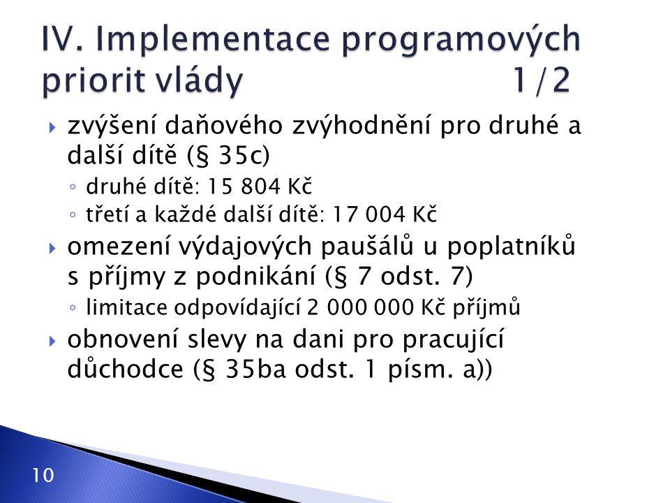 IV. Implementace programových priorit vlády 1/2