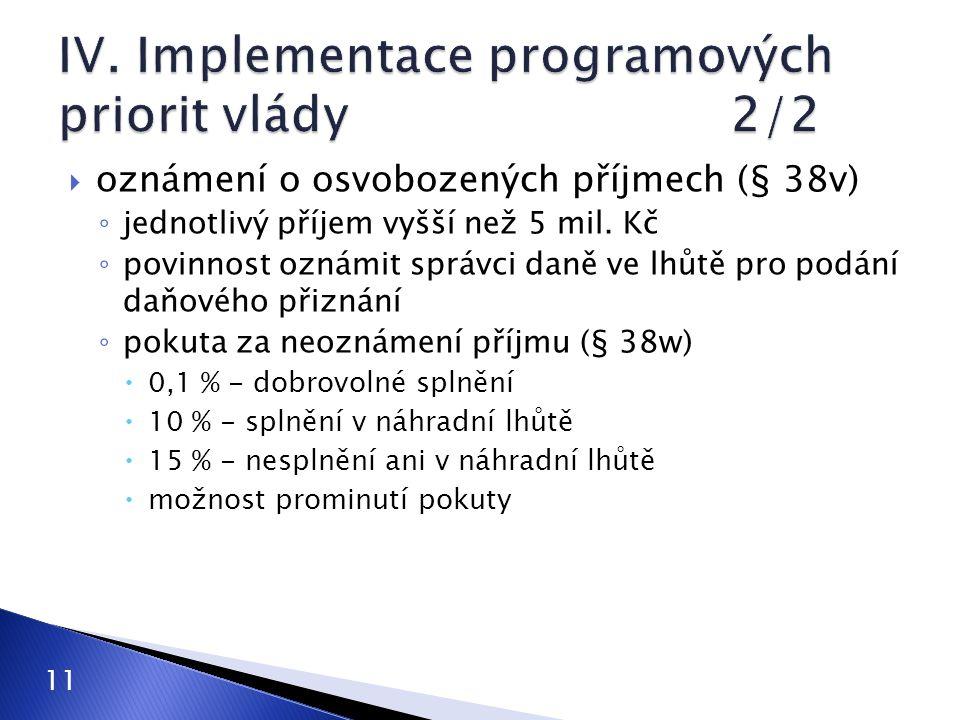 IV. Implementace programových priorit vlády 2/2