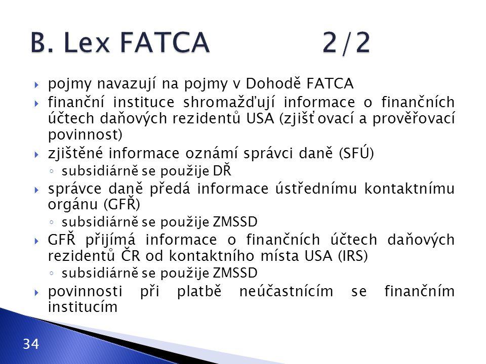 B. Lex FATCA 2/2 pojmy navazují na pojmy v Dohodě FATCA
