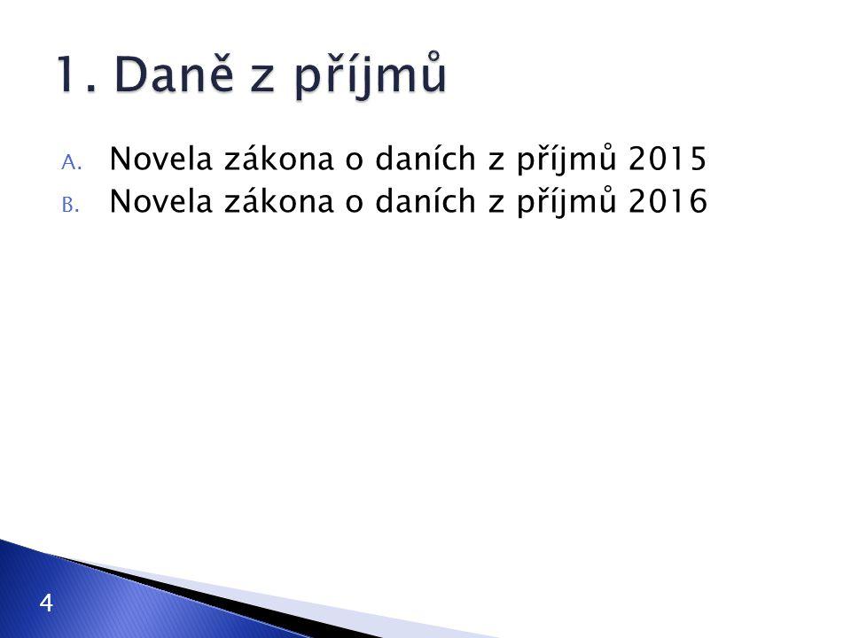 1. Daně z příjmů Novela zákona o daních z příjmů 2015