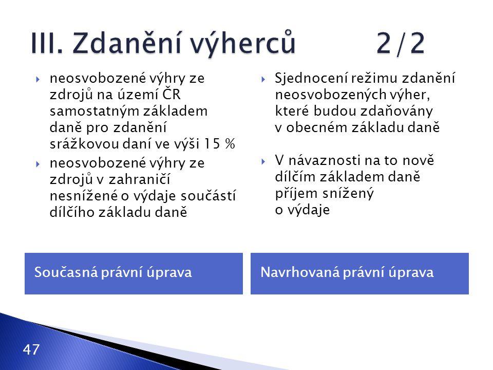 III. Zdanění výherců 2/2 neosvobozené výhry ze zdrojů na území ČR samostatným základem daně pro zdanění srážkovou daní ve výši 15 %