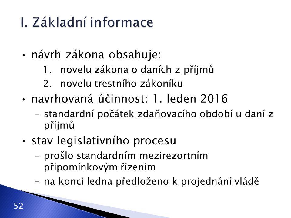 I. Základní informace návrh zákona obsahuje: