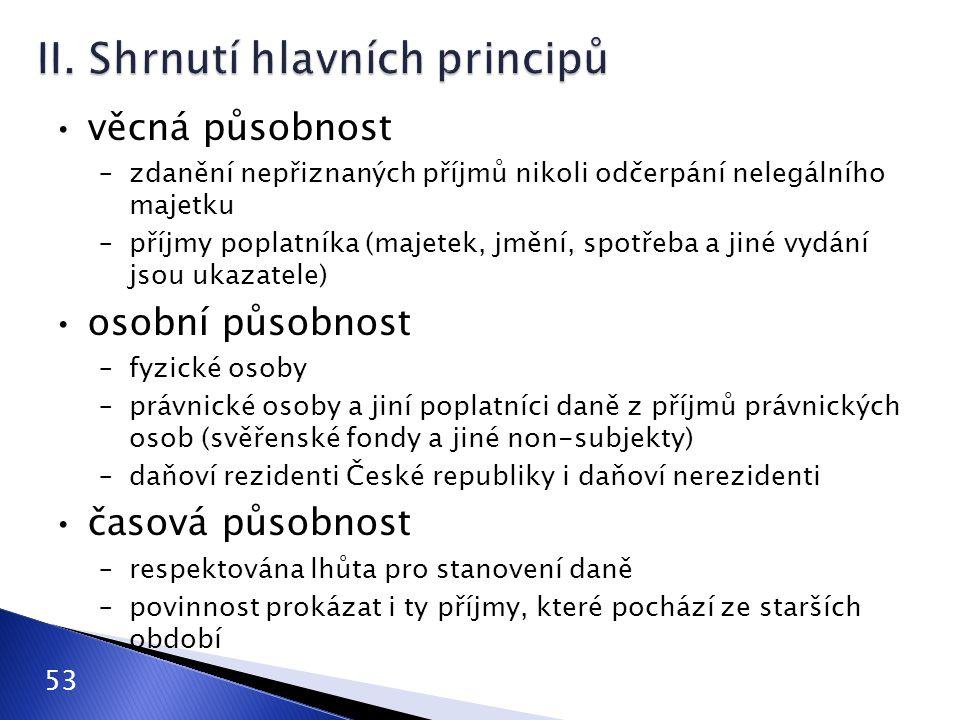 II. Shrnutí hlavních principů