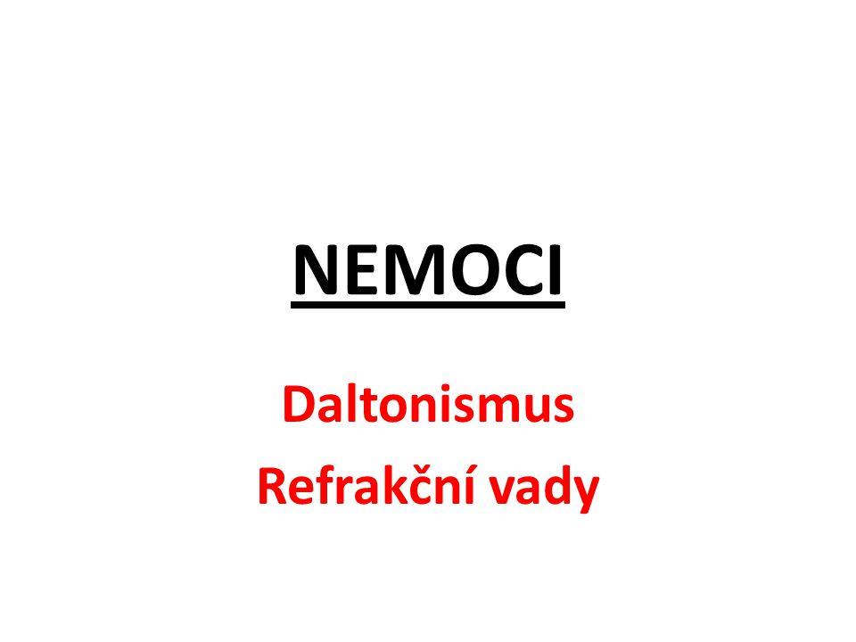 Daltonismus Refrakční vady