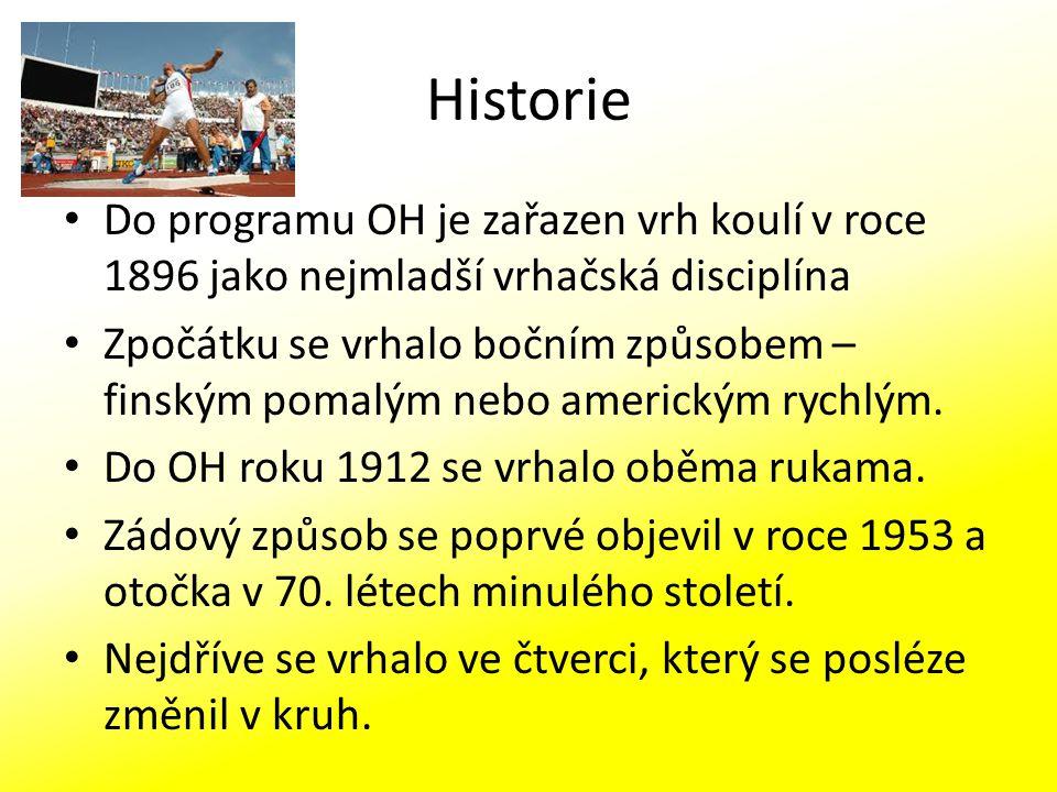 Historie Do programu OH je zařazen vrh koulí v roce 1896 jako nejmladší vrhačská disciplína.