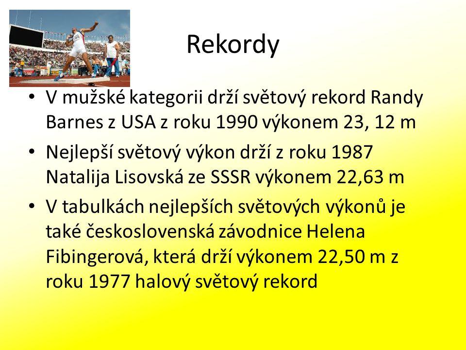 Rekordy V mužské kategorii drží světový rekord Randy Barnes z USA z roku 1990 výkonem 23, 12 m.