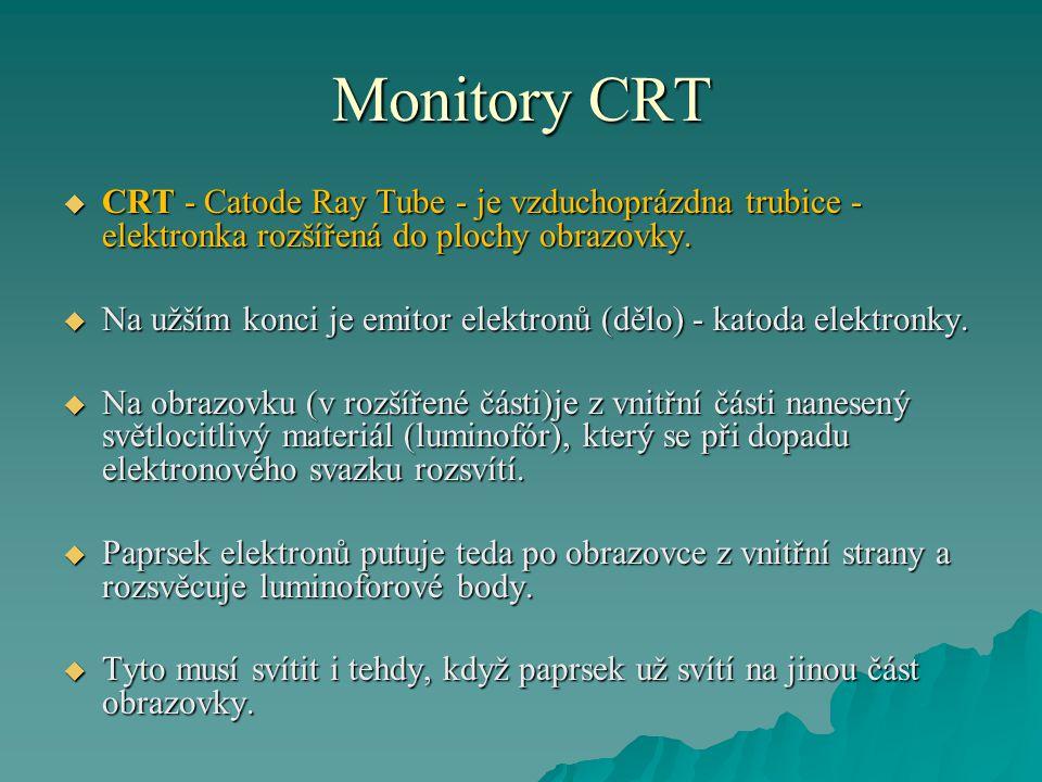 Monitory CRT CRT - Catode Ray Tube - je vzduchoprázdna trubice - elektronka rozšířená do plochy obrazovky.
