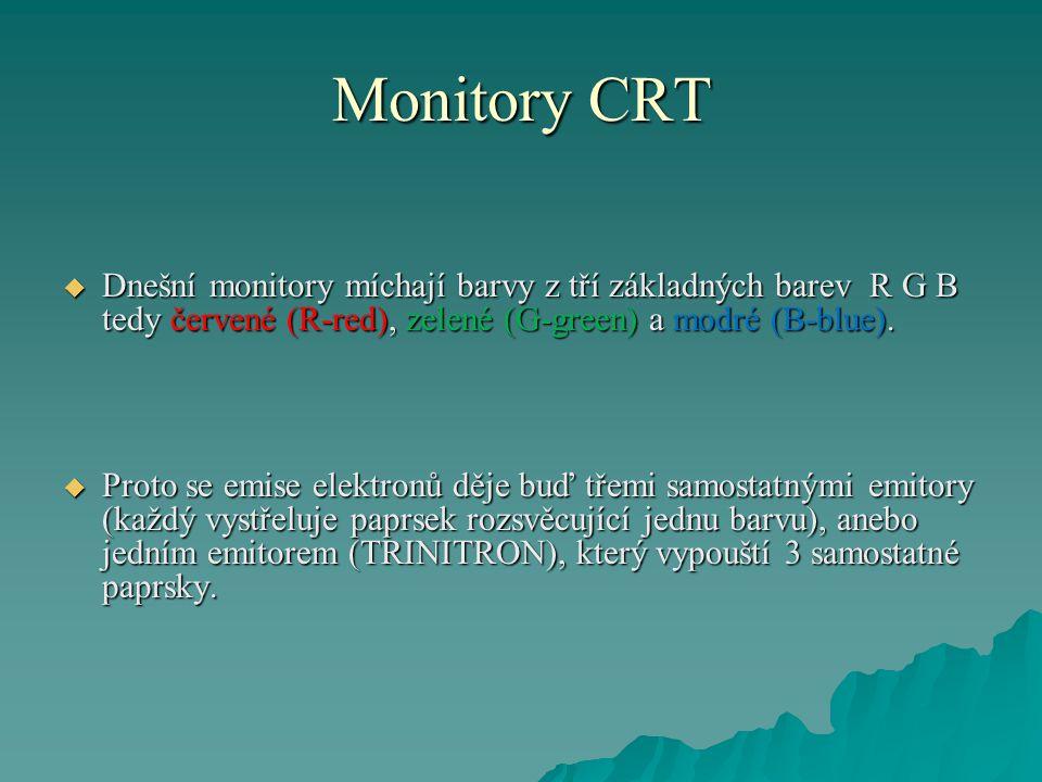 Monitory CRT Dnešní monitory míchají barvy z tří základných barev R G B tedy červené (R-red), zelené (G-green) a modré (B-blue).