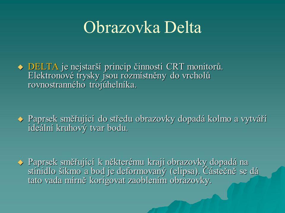 Obrazovka Delta DELTA je nejstarší princip činnosti CRT monitorů. Elektronové trysky jsou rozmístněny do vrcholů rovnostranného trojúhelníka.