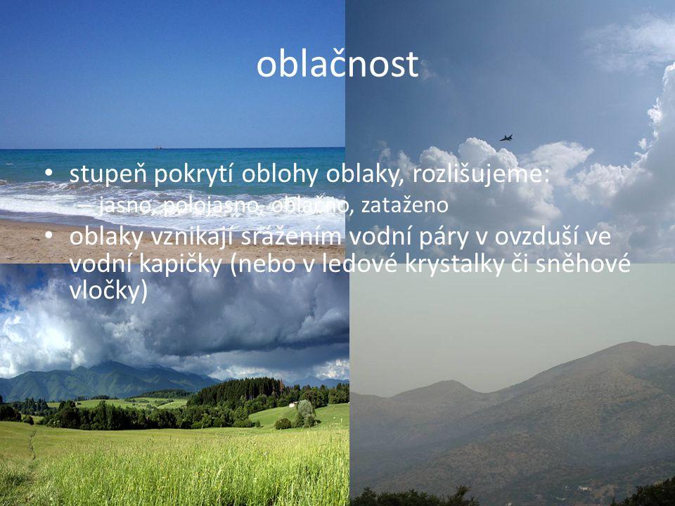 oblačnost stupeň pokrytí oblohy oblaky, rozlišujeme: