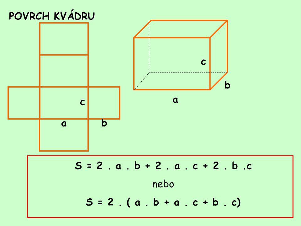 POVRCH KVÁDRU c. b. a. c. a. b. S = 2 .
