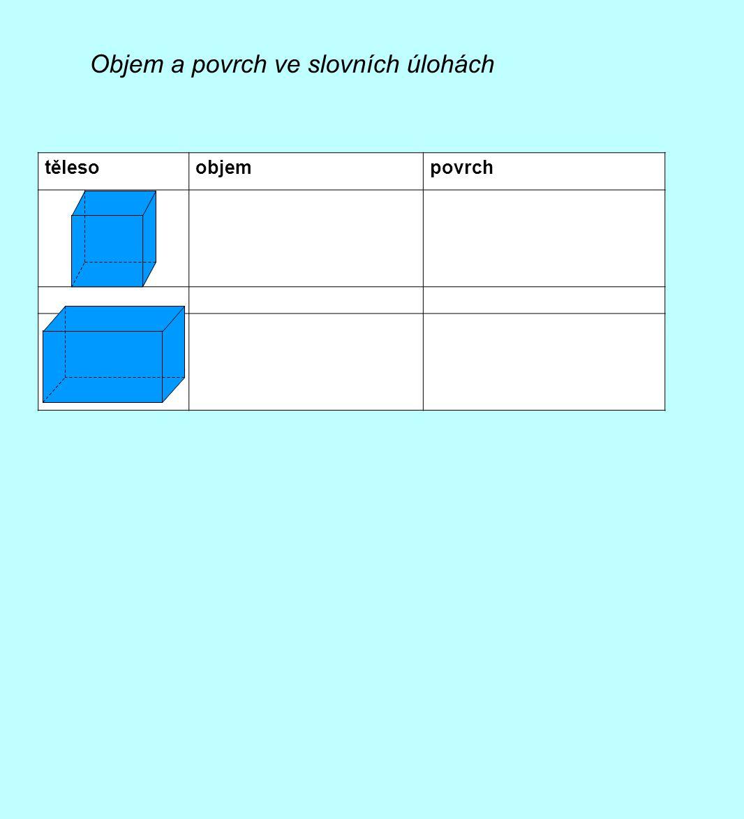 Objem a povrch ve slovních úlohách