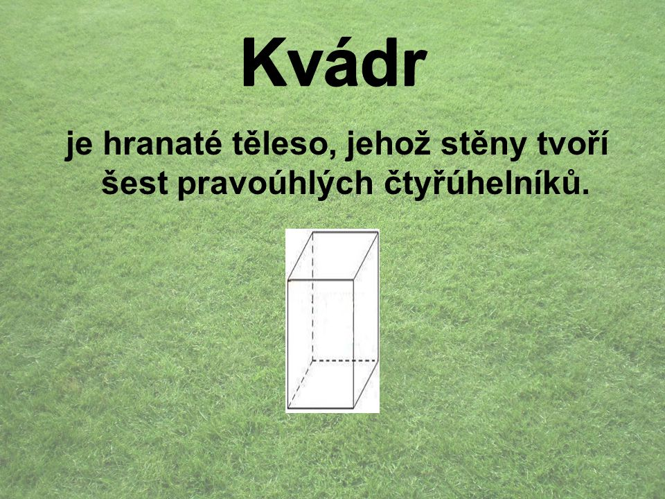 je hranaté těleso, jehož stěny tvoří šest pravoúhlých čtyřúhelníků.