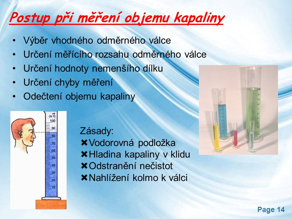 Postup při měření objemu kapaliny