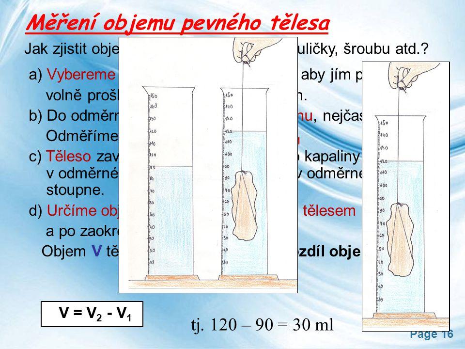 Měření objemu pevného tělesa