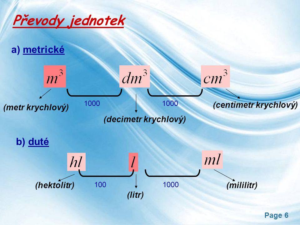 Převody jednotek a) metrické b) duté (centimetr krychlový)