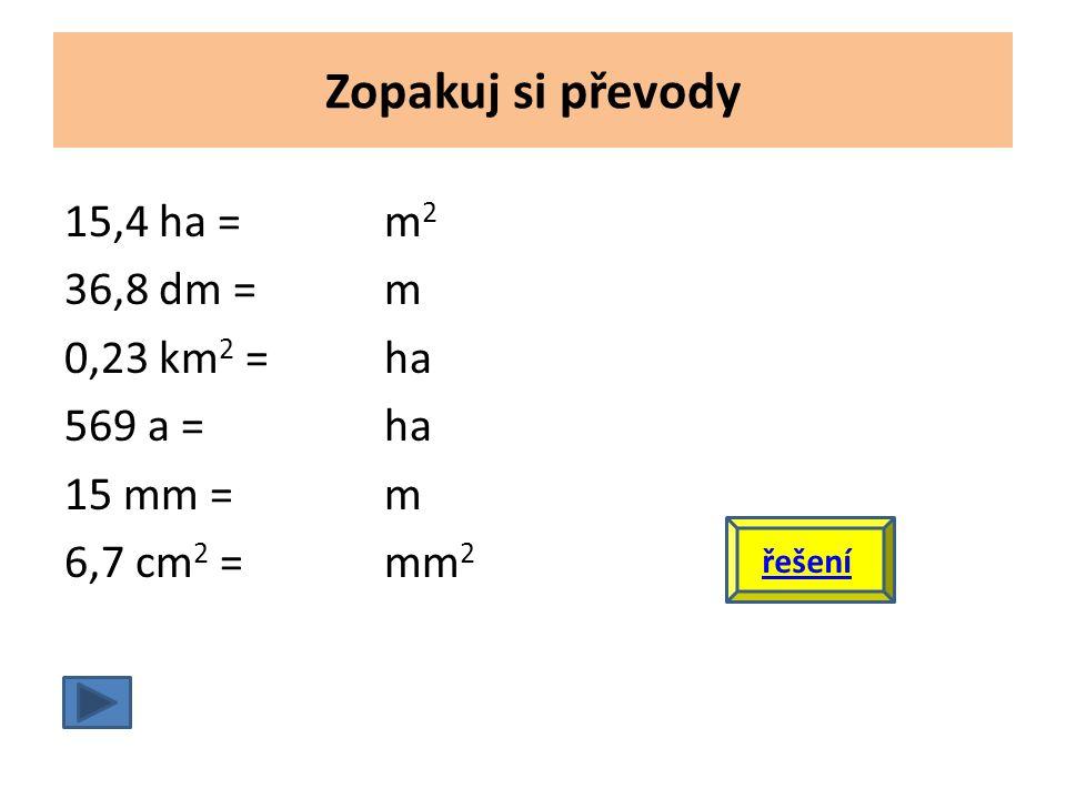 Zopakuj si převody 15,4 ha = m2 36,8 dm = m 0,23 km2 = ha 569 a = ha 15 mm = m 6,7 cm2 = mm2 řešení.