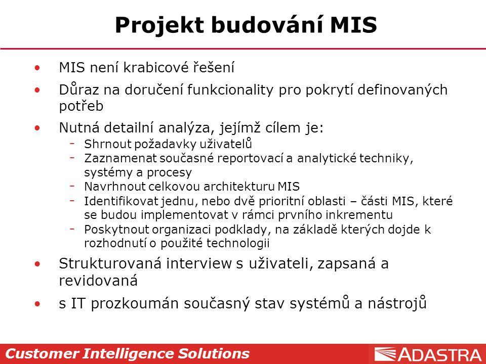 Projekt budování MIS MIS není krabicové řešení. Důraz na doručení funkcionality pro pokrytí definovaných potřeb.