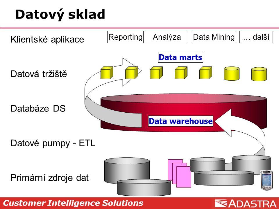 Datový sklad Klientské aplikace Datová tržiště Databáze DS