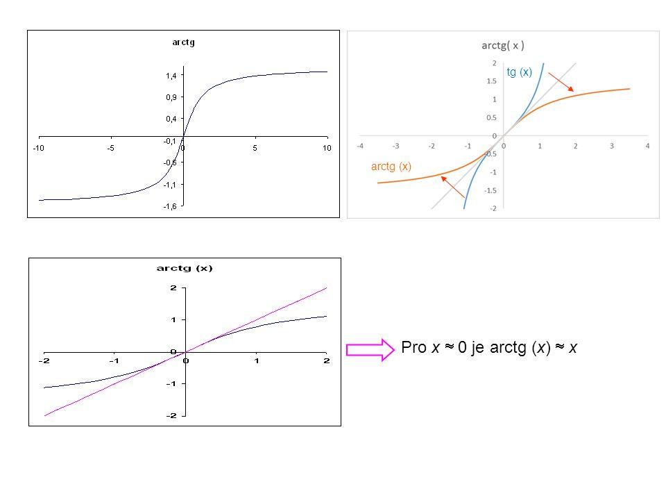 tg (x) arctg (x) Pro x  0 je arctg (x)  x