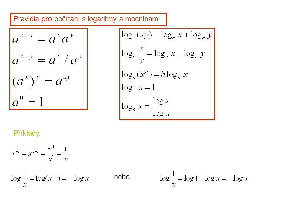 Pravidla pro počítání s logaritmy a mocninami.