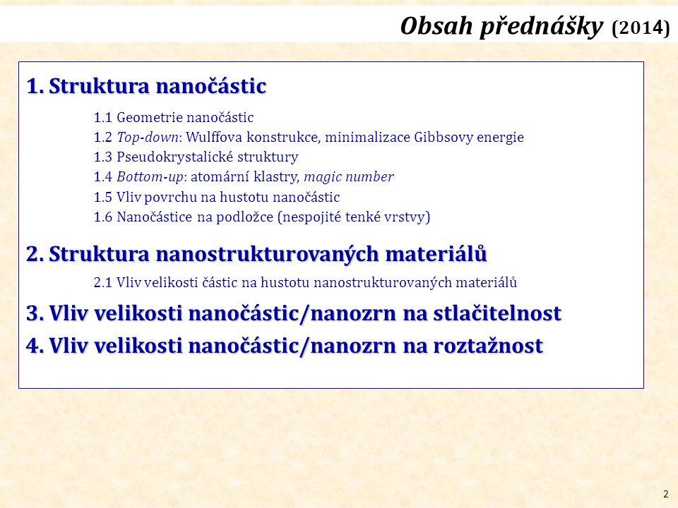 Obsah přednášky (2014) 1. Struktura nanočástic