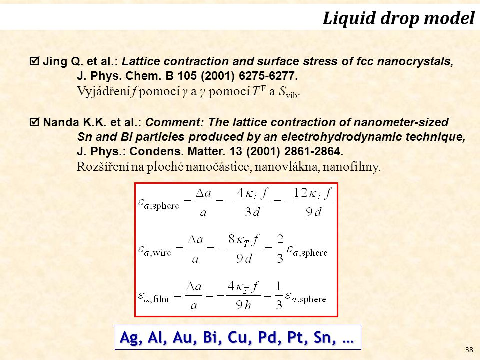 Liquid drop model Ag, Al, Au, Bi, Cu, Pd, Pt, Sn, …