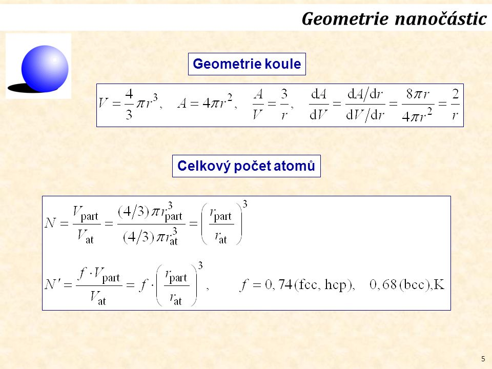 Geometrie nanočástic Geometrie koule Celkový počet atomů