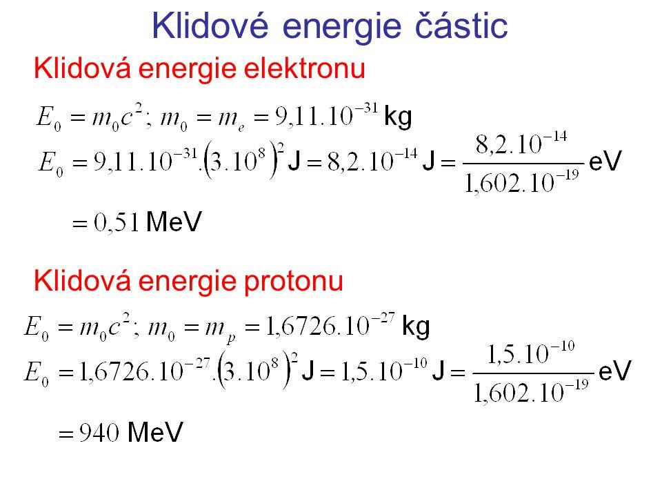 Klidové energie částic