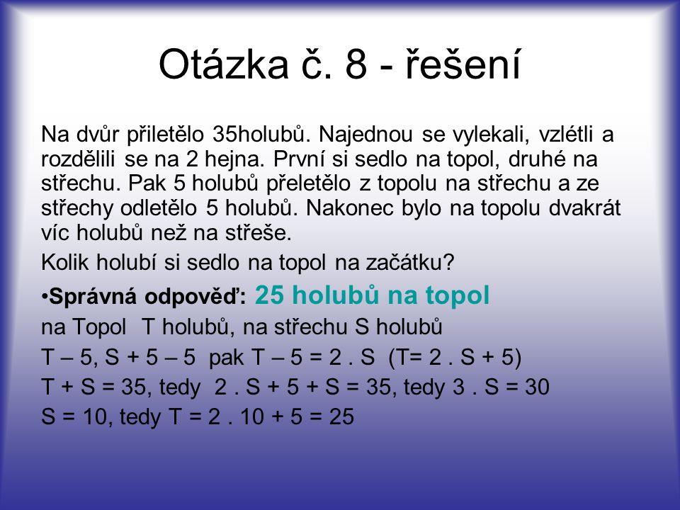 Otázka č. 8 - řešení