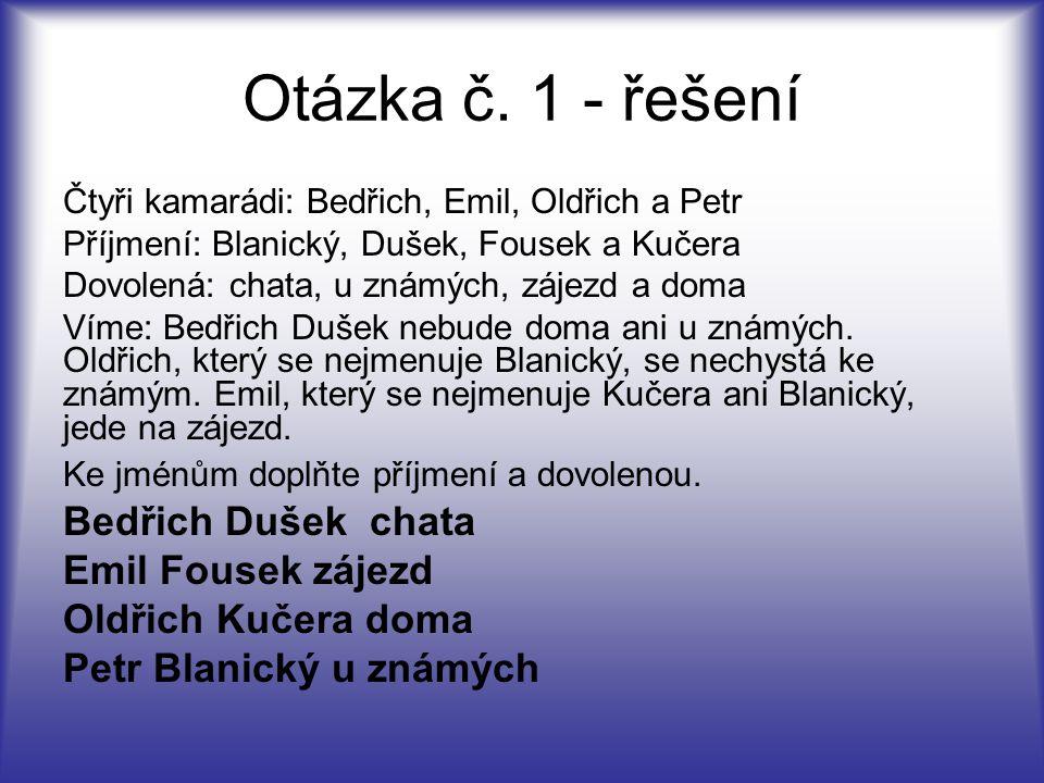 Otázka č. 1 - řešení Bedřich Dušek chata Emil Fousek zájezd