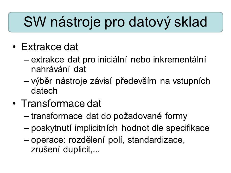 SW nástroje pro datový sklad