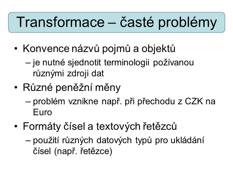 Transformace – časté problémy