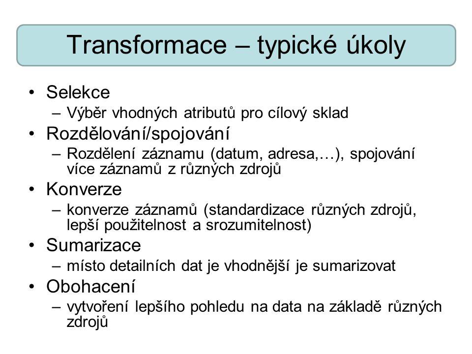 Transformace – typické úkoly