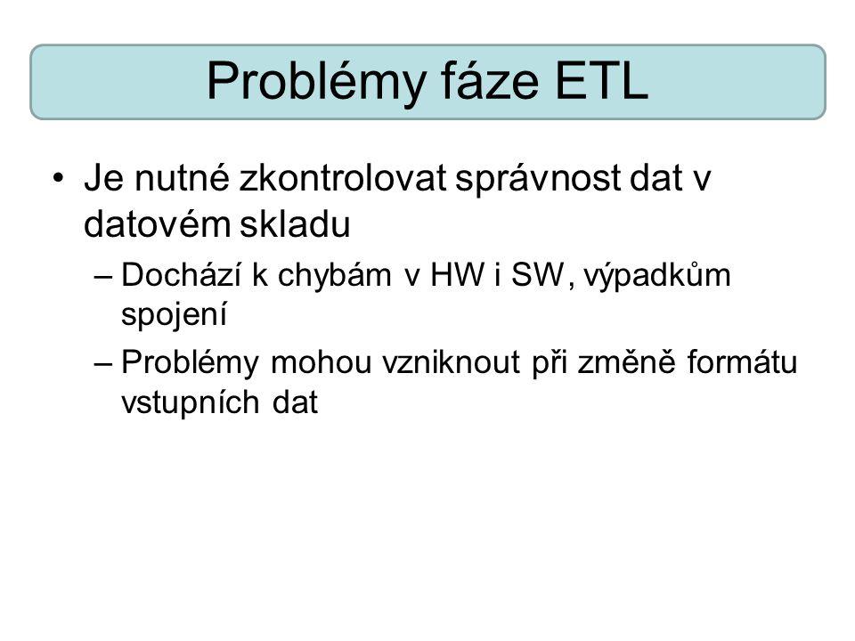 Problémy fáze ETL Je nutné zkontrolovat správnost dat v datovém skladu
