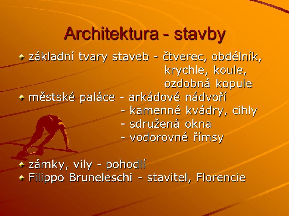 Architektura - stavby základní tvary staveb - čtverec, obdélník,