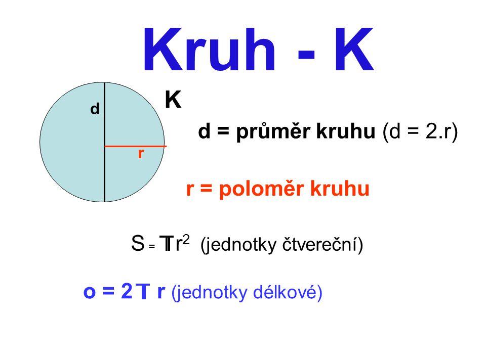 Kruh - K K d = průměr kruhu (d = 2.r) r = poloměr kruhu